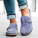 WYCcaseA Sandalias de Moda para Mujer Zuecos Cómodos Sandalias Sin Cordones de Ante Zapatos de Oficina para El Hogar de Verano Tobillo Zapatos de Verano para Mujer Zapatillas para Caminar,Azul,43