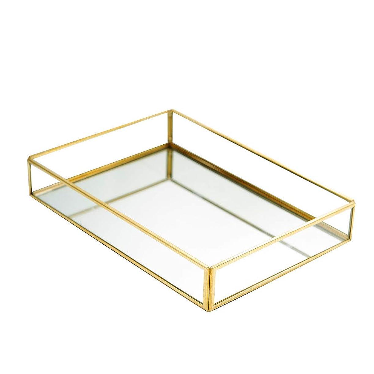 フロント呼ぶ真実収納トレイ ジュエリートレイ ミラートレイ アクセサリー収納 ガラストレイ ジュエリー収納 小物入れ 化粧品収納 アクセサリー置き 宝石箱 ゴールド (長方形)