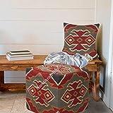 Handicraft Bazarr - Funda de cojín decorativa de lana de yute para cama o reposapiés, estilo bohemio, vintage, rústico, funda de almohada (45 x 45 x 45 cm)