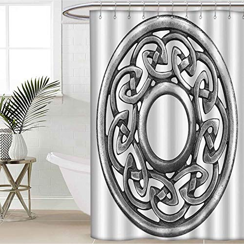 Celtic Decor Collection Shower Curtain Royal Style Circular Celtic Pattern Graphic Print Metal Brooch Design Scottish Shield Image Polyester Fabric Bathroom Curtains Silver W60 x L72