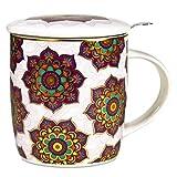 Taza con infusor de mandalas, color morado