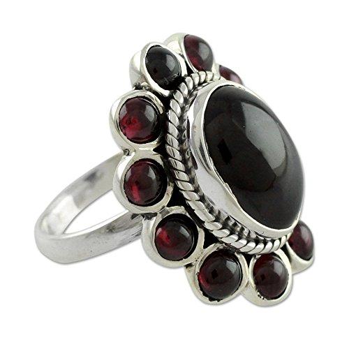 NOVICA Garnet .925 Sterling Silver Floral Ring, Scarlet Petals'