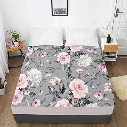 NVJR 3D Fitted Sheet Custom Single Double King Size Mattress Cover With Elastic Bed Sheet 180x200 Bedding Rose Microfiber Drop Ship,Flower 109-White-F,160x200 Deep 30cm