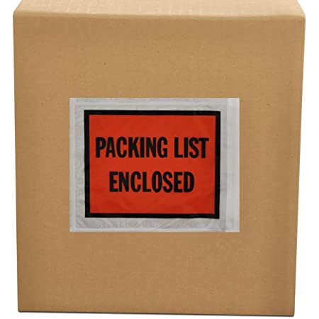 """Pouches Invoice Packing List Enclosed Adhesive Bags Top Print Orange Backside Loading Pack of 100 100 PACK EC PAK Clear Packing List Enclosed Envelopes 4 1//2x5 1//2/"""" 4.5x5.5/"""""""