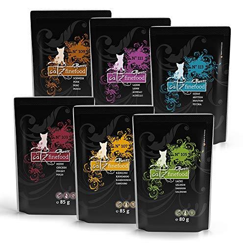 catz finefood Purrrr Monoprotein Katzenfutter nass Multipack, Känguru, Huhn, Lachs, Lamm, Schaf, Schwein Mix-Paket, 12 Beutel, 80g-85g