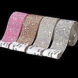 4 Rollos Cintas Autoadhesiva de Diamantes de Imitación Cristal Pegatinas Decorativas de DIY de 1,1 Pulgadas Cinta de Envoltura de Cristal Brillante 3,6 Yardas con Diamante 2 mm, 4 Colores