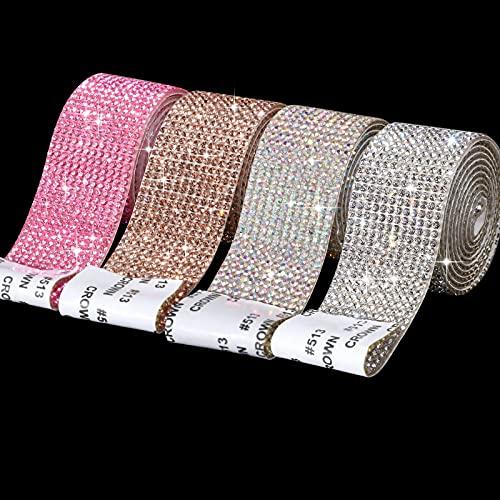 4 Rolle Selbstklebende Kristall Strass Diamant Band 1,1 Zoll DIY Dekoration Aufkleber Bling Kristall Wickelband 3,6 Yards mit 2 mm Strass Steinen für Auto Handwerk...