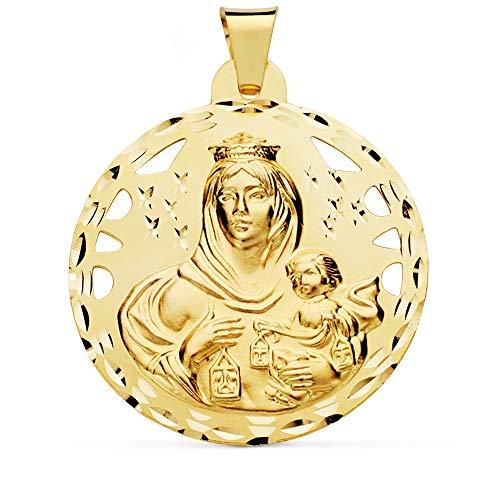 Medalla Oro 18K Virgen Del Carmen 42mm. Calada Redonda [Ac1033Gr] - Personalizable - Grabación Incluida En El Precio