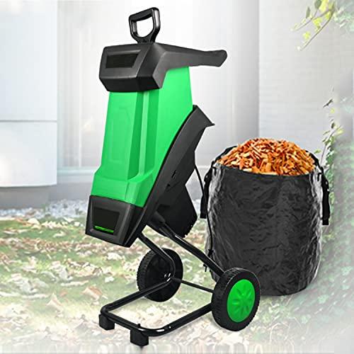 Trituradora trituradora de madera eléctrica, cuchillas de doble filo de 15 amperios y 2400 W, trituradora trituradora de servicio liviano para uso en césped y jardín, cable de alimentación de 10 m