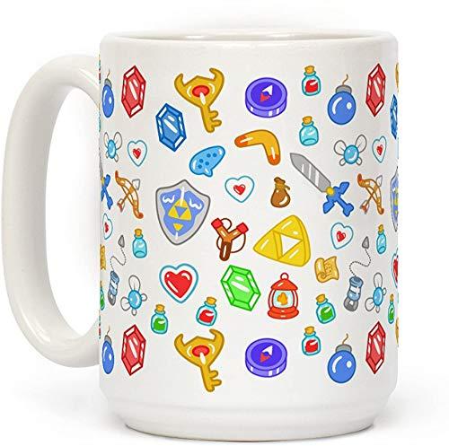 15 oz Koffie Mok, Zelda Items Patroon Wit Keramische Koffie Mok, Thee Beker, Kerst Mok