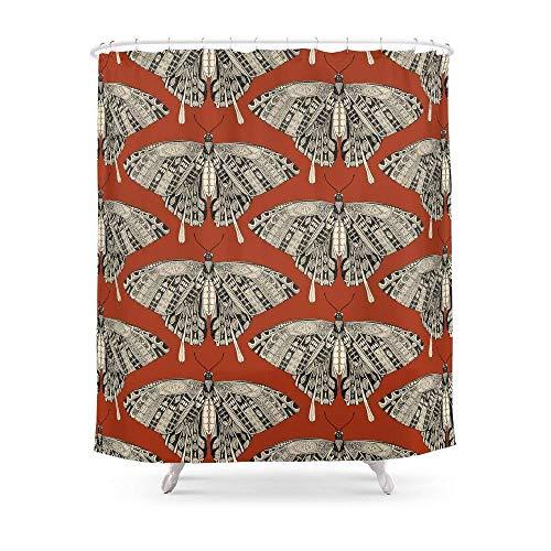 Suminla-Home Badezimmer schwalbenschwanzes Terracotta schwarz Vorhang für die Dusche 182,9cm von 182,9cm