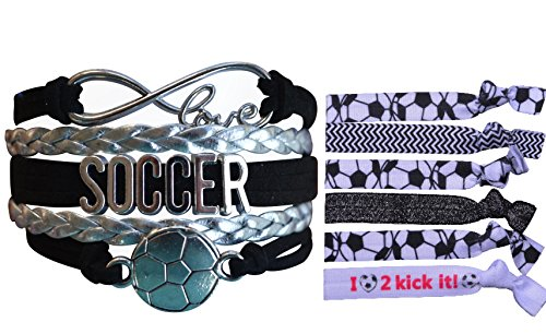 Infinity Collection Soccer Gift Set, Soccer Bracelet and Soccer Hair Ties, Perfect Soccer Gifts