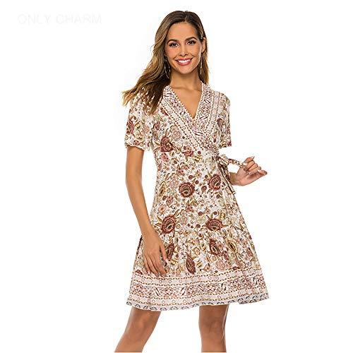 ONLY CHARM Femmes Bohème Robes, Imprimé Courte Manches Sexy Cou V A-Ligne Été Robes Court Plage Robe,Beige,L