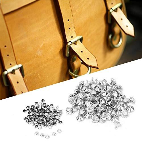 HEEPDD 100 unids 12 mm Rhinestone Remaches Incrustaciones de Cristal Remaches rápidos Spots Studs Cap para DIY Ropa de Cuero Bolsa Zapatos artesanía decoración(Plata)