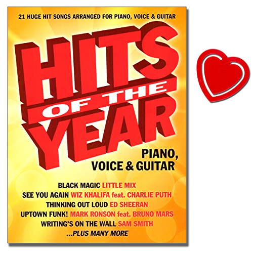 Hits Of The Year 2015 - Songbook - 21 Huge hit songs arranged for Piano, Voice and Guitar - Black Magic, See You Again, Thinking Out Loud ... Noten mit bunter herzförmiger Notenklammer