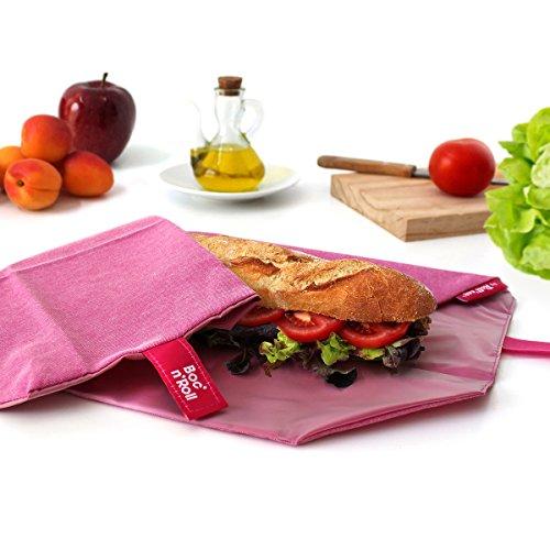 Roll'eat-Boc'n'Roll Eco - Stoffbrotdose | wiederverwendbarer ökologische Sandwichbeutel, BPA frei, verstellbare Sandwichverpackung, waschbar - Farbe Violett, 11x15cm (geschlossen), 54x32cm (offen)