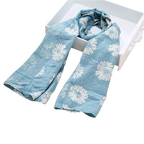 HuntGold Enfants Tournesol Imprimé Écharpe Chaude Foulard en Coton Hiver Beau Cadeau Bleu clair