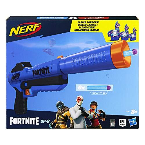 Hasbro Nerf- Fortnite SP-R e Bersagli Lama Blaster con Dardi, Colore Blu, E8556EU4
