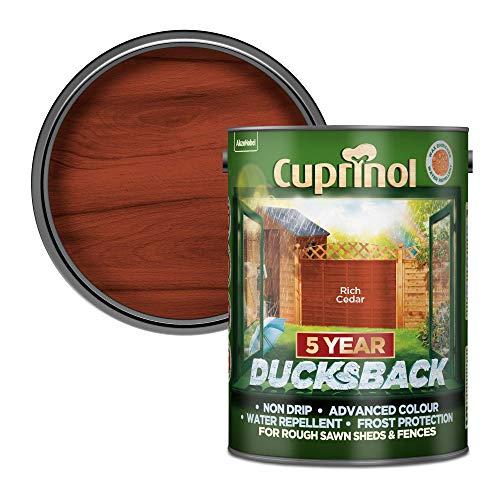 Cuprinol Ducksback 5 Year Waterproof for Sheds and Fences, 5 L - Rich Cedar