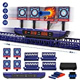 Moving Digital Shooting Targets for Nerf Guns - Boy Toys Shooting Games with Electronic Scoring/ Auto Reset/ 4 Modes/ 2 Speeds/ Adjustable Time/ Light/ Sounds, Ideal Gift Toy for Kids-Boys & Girls