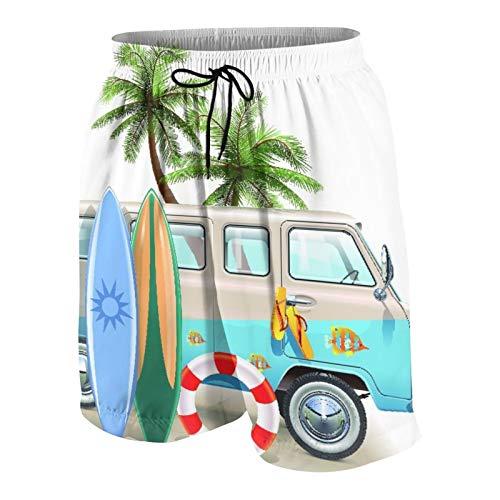 Hombres Casual Pantalones Cortos,Concepto de Fin de Semana de Surf con Elementos de Buceo, Aletas, Snorkel y Viaje en Furgoneta, relajar la Paz,Traje de Baño Playa Ropa de Deporte con Forro de Malla