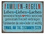 levandeo Blechschild B x H: 35x26cm Metall Familienregeln Shabby Chic Vintage Deko Sprüche Wandbild