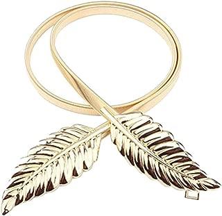 Elastic chain waist chain leaf decoration buckle belt New women's belt (Color : Gold, Size : 73cm)