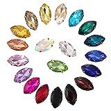 Ototon - Pietre di strass trasparenti, occhio di cavallo, diamante in acrilico colorato, da cucire, per accessori decorazione di abbigliamento, fabbricazione di gioielli fai da te, 100 pezzi