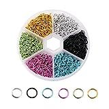 MoGist - Anillo de apertura de 6 mm de color mixto, anillo de conexión, anillo de abertura, joyería hecha a mano, collar, pulsera, joyería (estilo 3)
