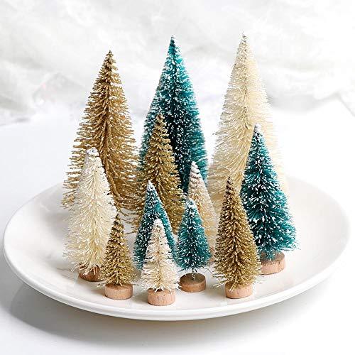 WARRT Arbol de Navidad DIY Mini Árbol De Navidad Falso Pino Árbol Mini DIY Craft Decoración De Escritorio Nieve Aleatorio