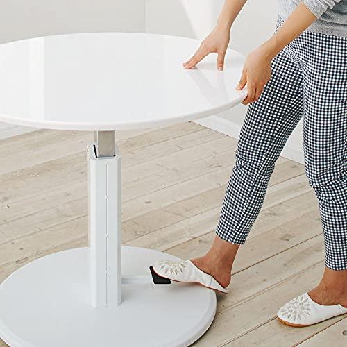 家具収納テーブル机昇降式テーブル高さ自由自在!カフェスタイルダイニング丸形昇降テーブル単品・径110cmホワイト587851