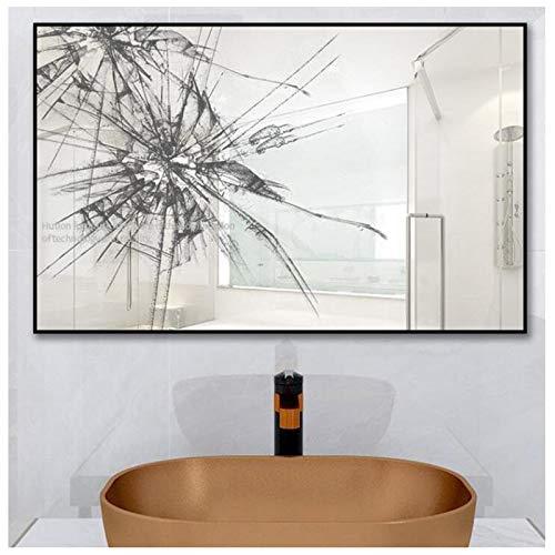 XINGG Espejo Baño, Espejo Baño con Marco De Antivaho,Suspensión Vertical Horizontal70x90 Cm, para Maquillaje, Afeitado, Eliminación De Puntos Negros Manchas (Negro)