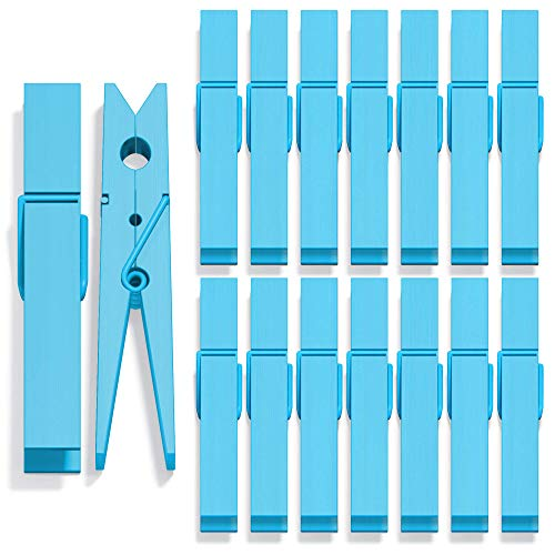 Clothes Pins Mini Clothespins Colored - Blue Wooden Small Clothespins for Photos Pictures Crafts Colorful Wood Clothing Line Clip Chip Clips Decorative Color Pin for Clothes Photo Decoration - 40 Pack