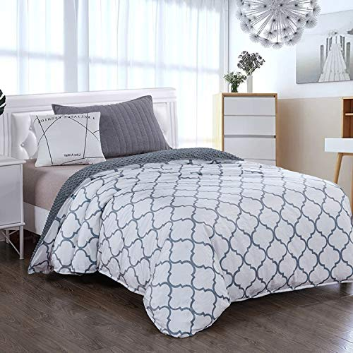 Royhom Duvet Cover for Weighted Blankets 48 x 72 Inches - Removable Weighted Blanket Cover - Soft Minky Dot, Printed White