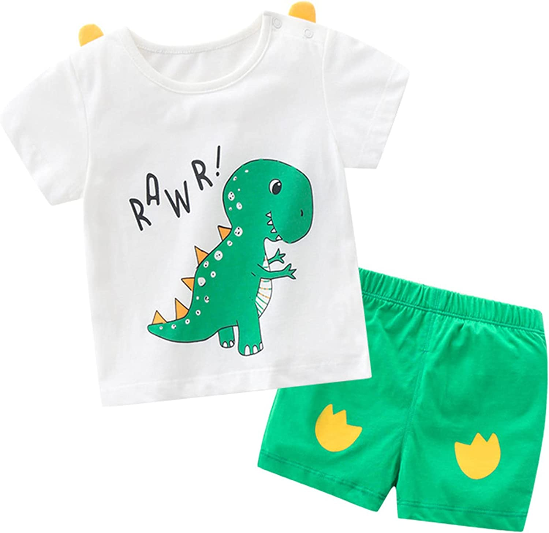 Toddler Boy Clothes Suit Summer Outfits Cotton Short Sleeve T-Shirt & Shorts Dinosaur Cute Set 1-7T