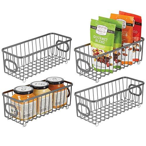 mDesign Juego de 4 cestas de almacenaje metálicas con asas – Cajas organizadoras con atractivo diseño de alambre – Cesta de alambre para armarios de cocina, despensa y cuarto de baño – gris grafito