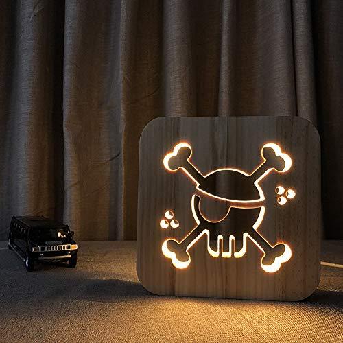 KK Zachary Luz nocturna de madera pirata 3D hueca USB creativa decorativa LED lámpara de mesa dormitorio habitación de los niños cumpleaños 19 x 19 cm escritorio