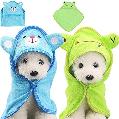 Fiyuer Albornoz para Perros 2 Pcs Toalla para Perros Pijamas Toalla de baño para Mascotas Microfibra Abrigos de Secado Azul Verde