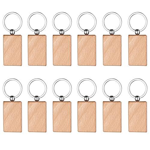 Gativs Schlüsselanhänger Holz Blanko 12 Stück Holz Schlüsselanhänger Schlüsselring Keychain DIY Schlüsselanhänger Personalisierte Holz Schlüsselanhänger für Bemalen Dekorieren