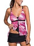Minetom Bañador Tankini De Dos Piezas Mujer Bikini Top Shorts Colores Opcionales Verano Elegante Cómodo Rendijas Beach Swimwear Rosa ES 38