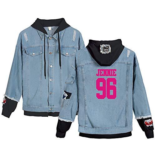 KPOP Blackpink Jeans Hoodies Casual Denim Jacket para Hombres/Mujeres Sudaderas con Capucha Cárdigan Chaqueta de Mezclilla Kill This Love JISOO Jennie Rosé Lisa