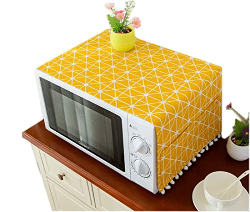 Mvchifay Microwave Oven Cover Dustproof Cotton Machine Protector Decorative Kitchen Appliance Cover with Side Storage Pockets 11.8x35.4inches (Yellow Grids)