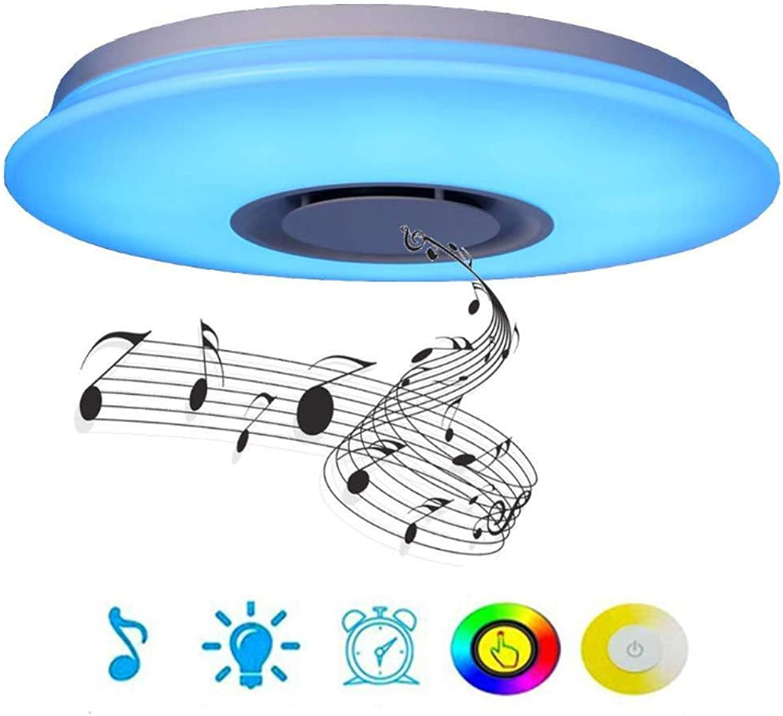 JIALH 36W verdunkelnde intelligente Fernsteuerungsdeckenleuchte LED mit Blautooth-Sprecher Grüniefte Decken-unten Lampen-Beleuchtung, intelligentes Telefon APP, hngender Heller Leuchter,40cm