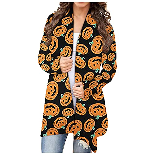 Mujeres Halloween Animal Gato Calabaza Print Cardigan Otoño Capa Blusa SW830429, Negro, S
