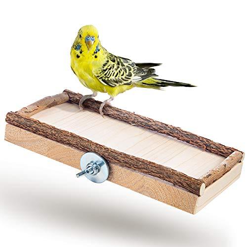 Super Siège Planche 20x10cm avec bois naturel pour perruche calopsitte  platforme pour Cage a Oiseaux perroquet  plateau, accessoires d'oiseaux allonger, asseoir, dormir