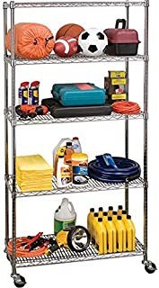 Seville Classics UltraDurable Commercial-Grade 5-Tier Steel Wire Shelving with Wheels, 36