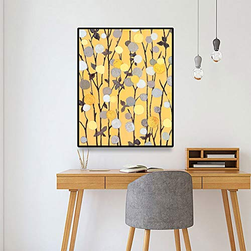 YuanMinglu Blatt Wandkunst abstrakte Ölgemälde auf Leinwand Aquarell Wanddekoration Poster und Druck Wal-Mart rahmenloses Gemälde 37.5X45CM