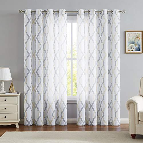 Geometric Semi Sheer Window Curtain Panel Pairs 95 inches Long