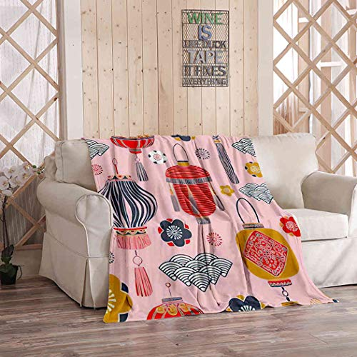 Kuidf Rooster Pattern Throw Blanket, Lunar New Year Flowers and Lanterns Happy of Flannel Bedding Blankets Decorative Cozy Soft Blanket for Bedroom Couch, 40x50 Inches