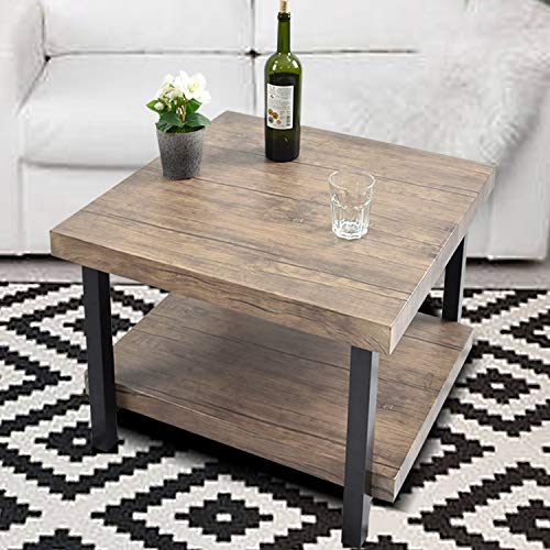 """Charavector Coffee Table Rustic Vintage Industrial Design Sturdy Metal Frame Legs Sofa Table Cocktail Table with Storage Bottom Open Shelf for Living Room, Easy Assembly, Brown,26.6""""x 26.6"""""""